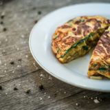 Tortilla with sheep cottage cheese and spinach